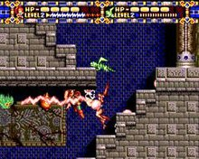 Gauges at the top represent the life and offensive capability of the player character, Alisia, and her pet. The area below the gauges is the main screen for the game; Alisia is jumping on a flight of stairs and firing her lightning at a group of enemies in this screen capture.