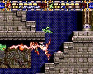 Alisia Dragoon - Gameplay involves action and platforming elements, as the player controls Alisia to jump onto platforms and kill enemies with the aid of her pets.
