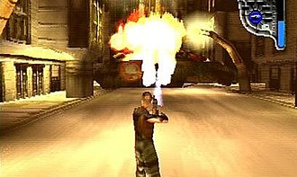 Apocalypse (video game) - The player is fighting a tank. The display in the top-right shows that the player is using the rocket launcher, and the blue bar coming down from it indicates how much ammunition is remaining for that weapon.