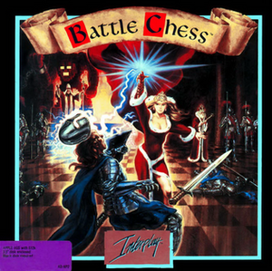 Battle Chess - Cover art showing the red queen killing a blue knight