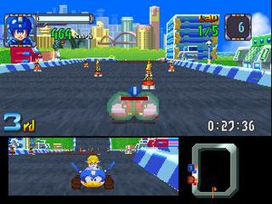 Mega Man Battle & Chase - Mega Man competes against Roll in the single-player Grand Prix mode.