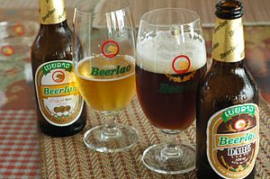Beerlao - Lager (left) and dark (right) Beerlao