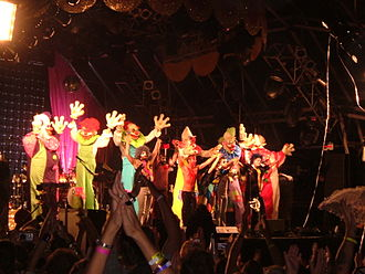 Bestival 2006 - The stilted clowns who appeared towards the end of Scissor Sisters' set.