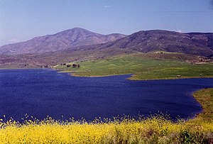 View over Sweetwater Reservoir toward Mt. Miguel.