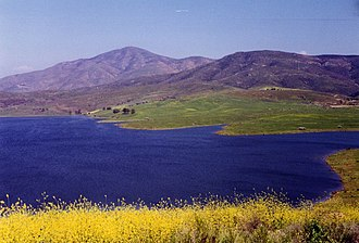 Bonita, California - View over Sweetwater Reservoir toward Mt. Miguel.