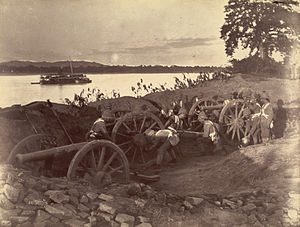 History of Myanmar - British soldiers dismantling cannons belonging to King Thibaw's forces, Third Anglo-Burmese War, Ava, 27 November 1885. Photographer: Hooper, Willoughby Wallace (1837–1912)