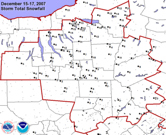 Mid-December 2007 North American winter storms - Snowfall Map for December 16 storm across central New York
