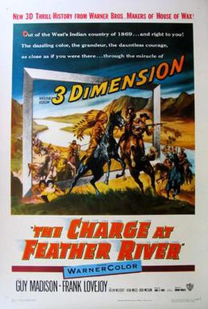 The Charge at Feather River - Promotional poster advertising the release of the film in 3-D