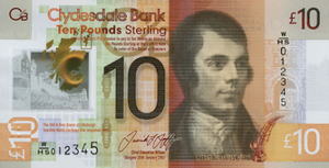 Clydesdale Bank £10 note - Image: Clydesdale Polymer £10 Front