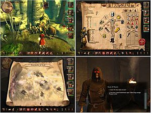Drakensang: The Dark Eye - Clockwise from upper left: combat with a Linnorm; character equipment panel; conversation with an undead necromancer; a section of the overland map.