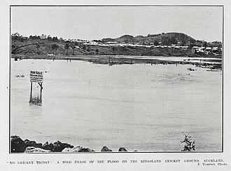 Kingsland, New Zealand - Kingsland cricket ground in flood in 1907 (present-day location of Eden Park)