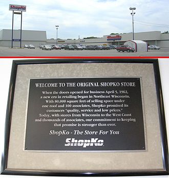 Shopko - The first Shopko store in Green Bay, Wisconsin, and the marker commemorating its status, both taken in August 2009. This location will be closing on April 14, 2019.