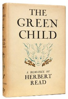 Front view of a beige coloured book with a graphic of the head of a wild-haired female between the title (The Green Child) and the subtitle (A romance by Herbert Read).