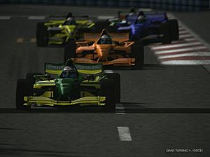 Gran Turismo 4 - A field of Formula GT cars on Tokyo Route 246