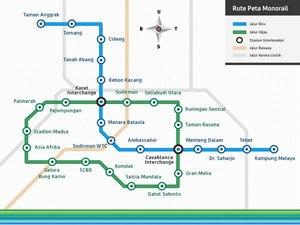 Jakarta Monorail - Image: Jakarta Monorail route plan