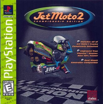 Jet Moto 2 - An unused cover for the Greatest Hits version, with art and text depicting it as the Championship Edition.