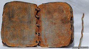 A photo of one of the lead codices found in Jo...