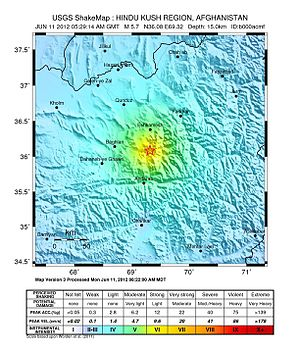 2012 Afghanistan earthquakes - Image: June 2012 Afghanistan earthquakes shakemap