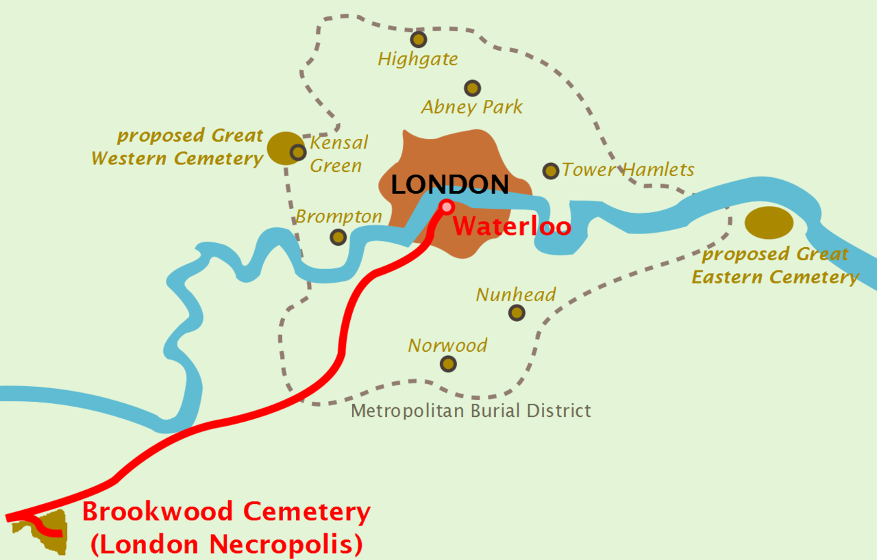 Map of a city surrounded by small cemeteries, and two larger proposed cemeteries slightly further out. A railway line runs from the city to a single large cemetery to the southwest, a long way further out.