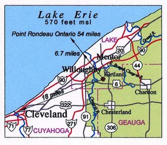 Gildersleeve Mountain - Location relative to downtown Cleveland and Lake Erie