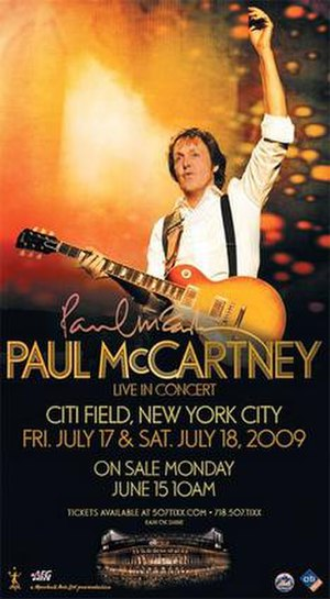 Summer Live '09 - Original Citi Field concerts ticket advertisement (before addition of 21 July concert)