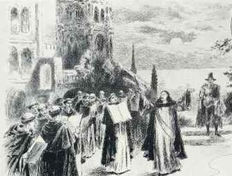 The Mountebanks - The bandits, now monks, attempt to greet the Duke and Duchess (actually Alfredo and Ultrice) in song.