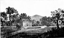 Drawing of a country house surrounded by trees and wide lawns, with a hill in the background