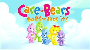 Care Bears: Oopsy Does It! - The Care Bears, from left to right: Cheer Bear, Oopsy Bear, Grumpy Bear, Funshine Bear, and Share Bear.