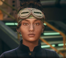 A screenshot of Parvati from The Outer Worlds