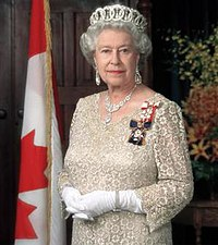 Her Majesty Queen Elizabeth II wearing the Sovereign's insignia of the Order of Canada and the Order of Military Merit.