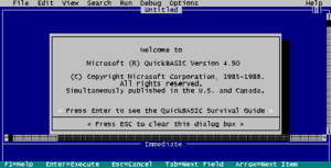 The opening screen of QuickBasic