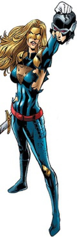 Sage (comics) - Sage as Diana Fox, after beheading an alternate Cyclops. Art by Pat Olliffe.