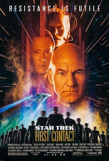 Movie poster for Star Trek: First Contact, showing head shots of Patrick Stewart as Captain Jean-Luc Picard, Brent Spiner as Data, and Alice Krige as the Borg Queen, from bottom to top; the bottom shows an image of the starship Enterprise NCC-1701-E speeding to the background over an army of Borg drones.
