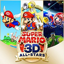 The icon art shows three games from the Super Mario series: Super Mario 64, Super Mario Sunshine, and Super Mario Galaxy.