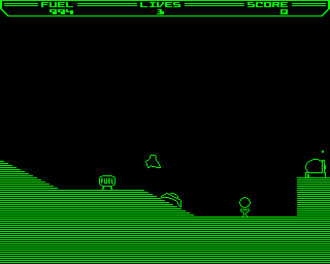 Thrust (video game) - Acorn Electron screenshot of Thrust - due to technical limitations specific to the Electron, this version ran in two colour mode