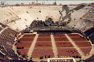 Inside of Verona Arena with scenery for an ope...
