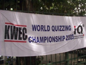 World Quizzing Championship - Banner publicising the championship in Bangalore, one of a number of cities simultaneously holding the July 2005 event