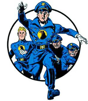 Blackhawk (DC Comics) - Blackhawk leading three members of his team into battle. Art by Reed Crandall.