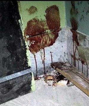 2001 Raid on Armando Diaz - Blood on the walls of the school after the raid. (Indymedia)
