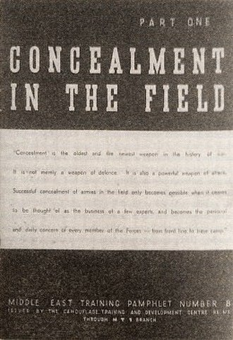 Geoffrey Barkas - Barkas published the distinctive booklet Concealment in the Field in Cairo in 1941