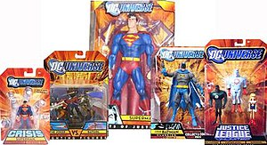 DC Universe (toyline) - DC Universe sublines Infinite Heroes (Superman pictured), Fighting Figures (The Joker vs. Batgirl pictured), Giants of Justice (Superman pictured), Classics (Crime-Stopper Batman pictured), and Justice League Unlimited (John Stewart-Captain Atom-Supergirl 3-pack pictured)