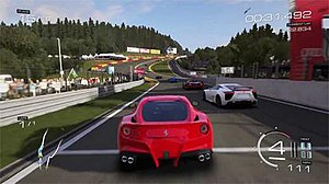 Forza Motorsport 5 - Forza Motorsport 5 features both fictional and real-world tracks. Here the Ferrari F12 Berlinetta races at Circuit de Spa-Francorchamps.