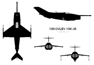 Orthographically projected diagram of the Yakovlev Yak-36.