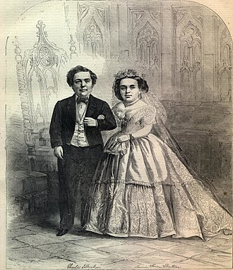 General Tom Thumb - The wedding couple as they appeared on the February 21, 1863 cover of Harper's Weekly magazine.