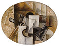 Georges Braque, 1913, Glass and Card, oil on canvas, oval, 26.7 x 34.9 cm, private collection.jpg