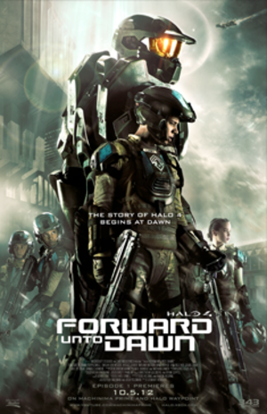 Halo 4: Forward Unto Dawn - Visual ID poster with characters from left: Sullivan, Orenski, Master Chief, Lasky, Silva