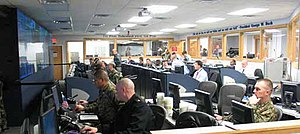 Joint Force Headquarters National Capital Region - Personnel in the Joint Task Force National Capital Region's Joint Operations Center maintain security vigilance during George W. Bush's State of the Union Address, January 31, 2006.