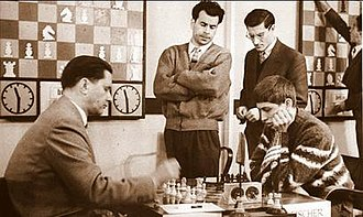 Candidates Tournament - Paul Keres vs. Bobby Fischer, 1959 Candidates Tournament in Bled; Pal Benko watching