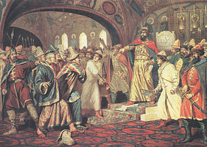 Ahmed Khan bin Küchük - Ivan III tears off the Khan's missive letter demanding the tribute in front of Khan's mission