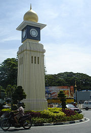 The clock tower at the town's center.